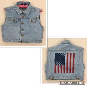 American Apparel Cropped Denim Jean Vest Size Sm